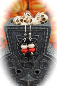 Black ceramic skulls crackled white and red by aimeeNandysEarrings, $12.00