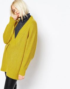 Image 1 of Monki Oversized Deep V-Neck Sweater
