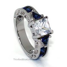 Thin Blue Line Women's Engagement Ring Stainless Steel CZ Princess Cut – ThinRedBlueLine