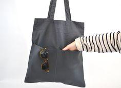 Stofftasche Jutebeutel Kunstleder glatt grau Tasche von mienBerlin