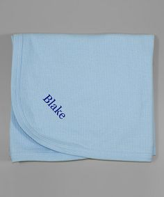 Loving this Blue Thermal Personalized Stroller Blanket on #zulily! #zulilyfinds