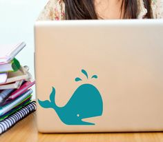 Whale wall decal cute little fish sticker for kids beach decor laptop, ipad, car window sticker