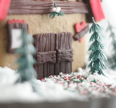 Close up of the gingerbread house