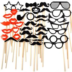 Photo booth 38pcs Sticker Moustache Mariage Accessoire Fete Mustache Hat Wedding: Amazon.fr: Cuisine & Maison