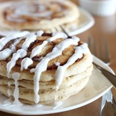 Cinnamon Roll Pancakes gone Vegan!