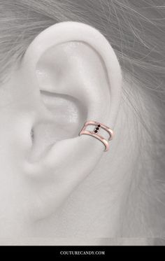 ANTOANETTA - 14K Rose Gold Black Diamonds Ear Cuff | CoutureCandy.com