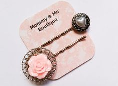 Pink and Silver Bobby Pins  silver heart by MommyandMeBoutique8, $4.95