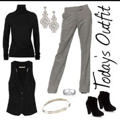 Black turtleneck, black vest, black and white pattern pants, black boots, silver ring, silver bangle and silver chandelier earrings.