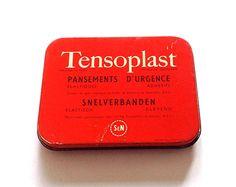 Vintage Belgian metal medicine tin box from 1950s by LostPapers