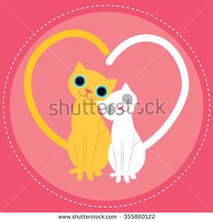 Cats love vector illustration - stock vector