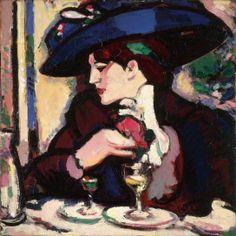 The Blue Hat, Closerie des Lilas, 1909 by John Duncan Fergusson (Scottish 1874–1961)