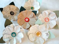 Upcycled Paper Flowers - Six Book Page Flowers