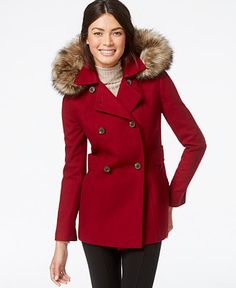 Nautica Faux-Fur-Trim Hooded Wool Peacoat - Coats - Women - Macy's