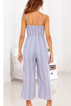 283f9308d9 Women Light-blue Spaghetti Straps Stripe Tied Chic Jumpsuit - M Striped One  Piece