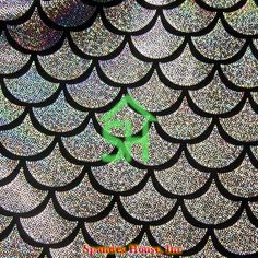 Mermaid - Silver on Black Spandex House Mermaid Fabric, Hologram, Dance Wear, Dots, Trending Outfits, Unique Jewelry, Silver, Color, Vintage