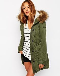 Abercrombie & Fitch Sherpa Parka With Faux Fur Trimmed Hood
