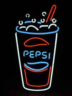 pepsi cup neon sign