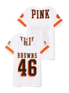 Cleveland Browns Sporty Athletic V-neck Jersey PINK