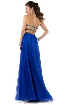 Sheath Dress in Chiffon with Open Back   by FLIRT #blue #prom #chiffon