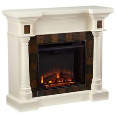 Upton Home Blanchard Ivory Electric Fireplace | Overstock™ Shopping - Great Deals on Upton Home Indoor Fireplaces