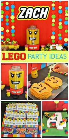 What a fun Lego boy birthday party with a birthday cake, backdrop and dessert table! See more party ideas at CatchMyParty.com!