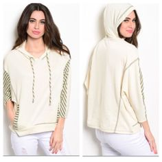 """Hoodie (S M L) Hoodie Length- S: 23"""" • M: 24""""• L: 25"""" Materials-60% polyester/40% cotton NWOT. Brand new without tags. This hoodie has pockets on the front. It is very cozy and perfect with a pair of leggings and boots for winter! Dolman style sleeves. The color is slightly off white and the inside has a hint of sparkle.  Availability- S•M•L • 2•2•2   PLEASE do not purchase this listing. Price is firm unless bundled. No trades2L7 Boutique Tops Sweatshirts & Hoodies"""