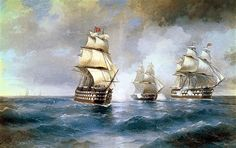 Brig  Mercury Attacked by Two Turkish Ships - Ivan Aivazovsky