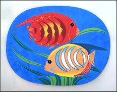 Table Placemats - Hand Painted Wooden Table Mats - Tropical Fish - Set of 4 - P-105