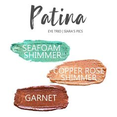 Patina Eye Trio uses three SeneGence ShadowSense: Copper Rose Shimmer ShadowSense, LE Seafoam Shimmer ShadowSense, and Garnet ShadowSense.  These cream to powder eyeshadows will last ALL DAY on your eye.  #shadowsense #eyeshadow