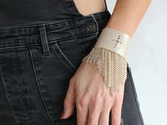 Excited to share the latest addition to my #etsy shop: Beauty gift/Gold cuff bracelet/Leather bracelet/Wide gold bracelet/Fringe cuff bracelet/Chandelier bracelet/Chain bracelet/ http://etsy.me/2zkyiJ0