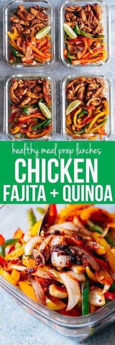 Chicken Fajita Meal Prep Lunch Bowls are teamed with cilantro lime quinoa and is a healthy, tasty, fast recipe to make lunch prep for weekdays super easy! Substitute chicken with beef or shrimp. Gluten free and dairy free.  via @my_foodstory