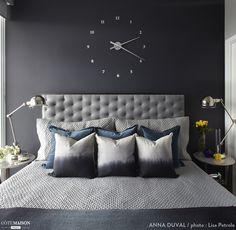 Modern style bedroom by anna duval modern Blue Bedroom, Bedroom Wall, Master Bedroom, Bedroom Decor, Wall Decor, Contemporary Bedroom, Modern Bedroom, Modern Wall, Decor Interior Design