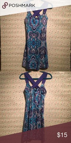 Sporty summer dress Patterned blue dress with criss-cross straps and built in bra Dakine Dresses Mini