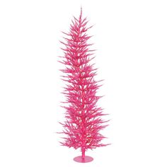 Bold and festive, this gently curving pink tree pairs yuletide fun with mod design. Deck it out in silver tinsel for an eye-catching holiday accent.