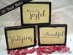 Tutorial on how to make these decorative blocks.  Wood + Paper.  Really easy plus FREE PRINTABLES!  #DIY #Thanksgiving #scripture