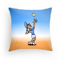 Tennis throw pillow. #Redbubble #Cardvibes #Tekenaartje