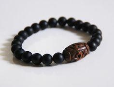 Men's Bracelets - Men's Jewelry - Men's Matte Black Onyx and curved wood bead Bracelets- Beaded bracelet- Unisex bracelets-Stretch Bracelet on Etsy, $28.00