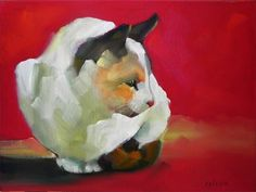 Cat Patience... (Cheryl Wilson). Lovely use of broad brush strokes #cat #painting pinned by www.amgdesign.co.nz