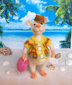 Caribbean. Vacationist. Needle Felted Rat Wool Soft by FluffyFuzzy, $40.00