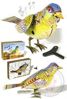 Singing Bird : Kohler Germany : 1950 Animated Tin Toy : Whistling Flapping Bird