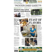 The front page of the Taunton Daily Gazette for Wednesday, Sept. 16, 2015.