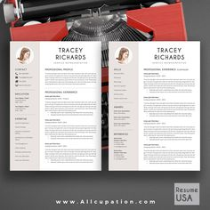 @allcupation Creative Resume Template, Modern CV Template, Word, Cover Letter, References, Instant Download, Mac, PC, TRACEY | Allcupation.com | We Help You Create Powerful Resume and Win The Interview | #resume #template #resumetemplate
