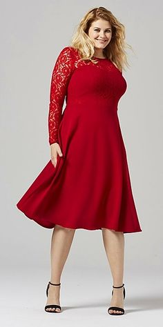 Plus Size Lace Detail Skater Dress