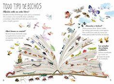 El gran libro de los bichos está lleno de datos para que los niños empiecen a explorar la amplia gama de insectos que pueblan nuestra Tierra. En las primeras páginas, los niños aprenden que los insectos viven en casi todas partes del planeta y se enseñan algunos trucos para que se conviertan en observadores de bichos.(A partir de 6 años)