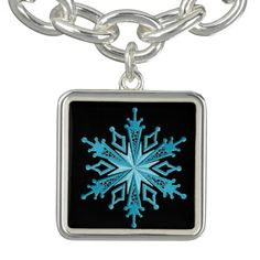 Ice Blue Snowflake Square Bracelet