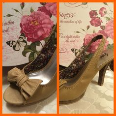 "FIONI DARLINGS Hit the target with these beautiful 3.5"" stacked heel sling backs.  Cute peep toe with bow.  The bow is detailed with stitching; floral print inside covering.  Great condition.  You will be styling in these shoes and your favorite jeans.❤️❤️ Gently loved and in terrific condition FIONI Clothing Shoes Heels"