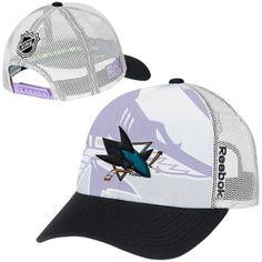 info for 27be3 87d73 Mens San Jose Sharks Reebok White Hockey Fights Cancer Draft Takedown Adjustable  Hat