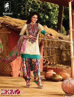Sahiba Neeru Bajwa Punjabi Patiala Cream Floral Printed Salwar Suit