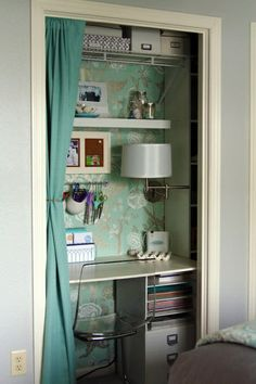 Turn a small closet into a home office.