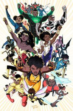 DC and Marvel black comic characters art by Luciano Vecchio. Arte Dc Comics, Black Love Art, Black Girl Art, Character Drawing, Comic Character, Dc Animated Series, Comic Books Art, Comic Art, Arte Black